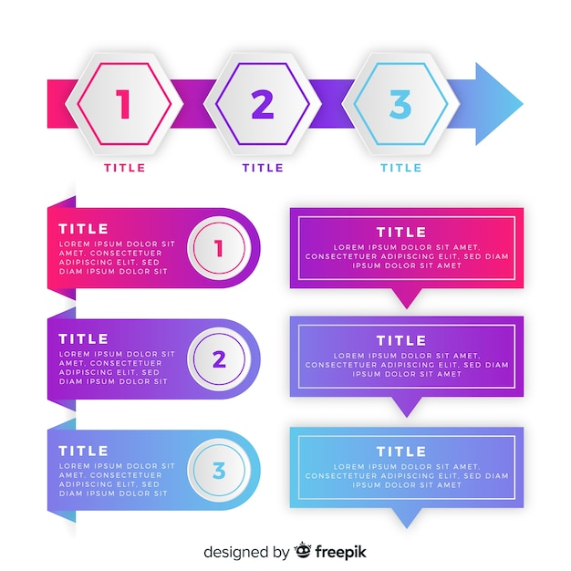 Pacote de elementos coloridos infográfico Vetor grátis
