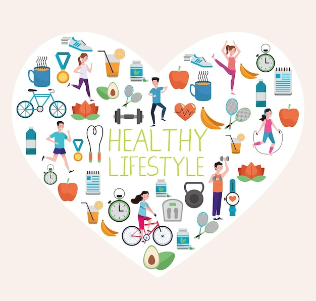 Pacote de elementos de estilo de vida saudável definido no coração Vetor Premium