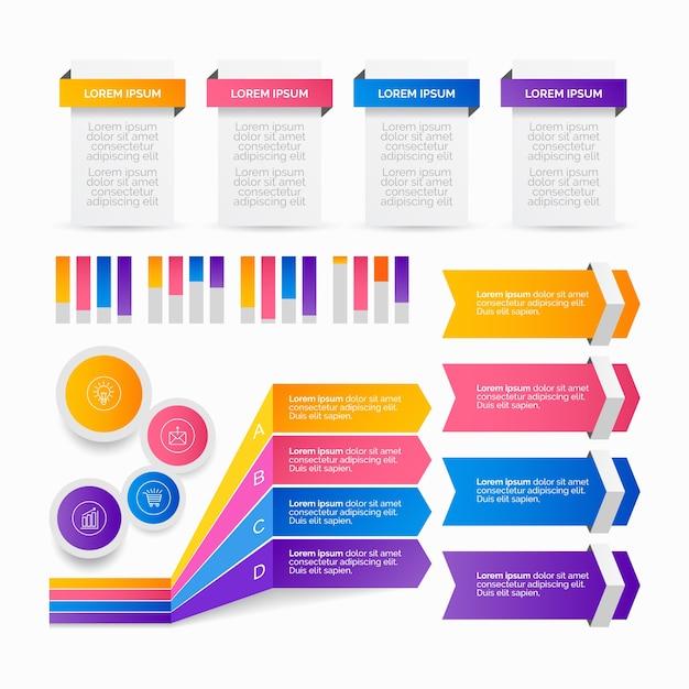 Pacote de elementos de infográfico gradiente Vetor grátis
