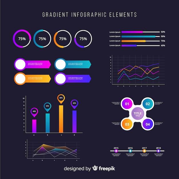 Pacote de elementos de infográficos de negócios gradiente Vetor grátis
