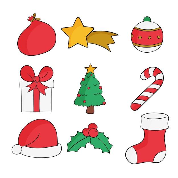 Pacote de elementos de natal de design desenhado à mão Vetor grátis