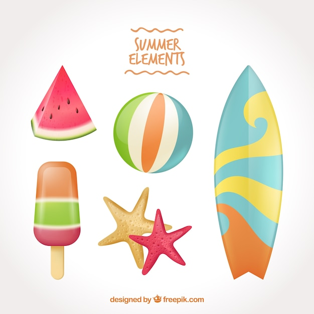 Pacote de elementos de verão e prancha de surf Vetor grátis
