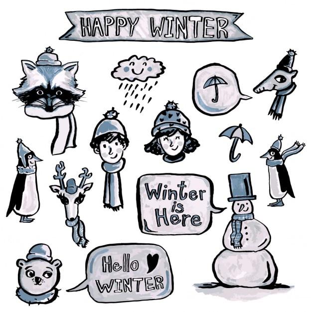 Pacote de elementos desenhados mão do inverno Vetor grátis