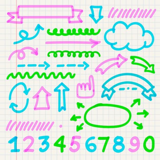 Pacote de elementos do infográfico escolar com marcadores coloridos Vetor grátis