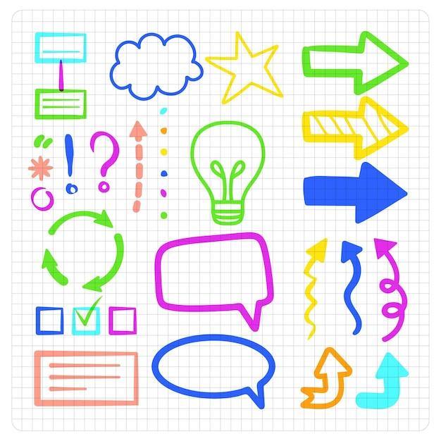 Pacote de elementos do infográfico escolar em cores diferentes Vetor grátis