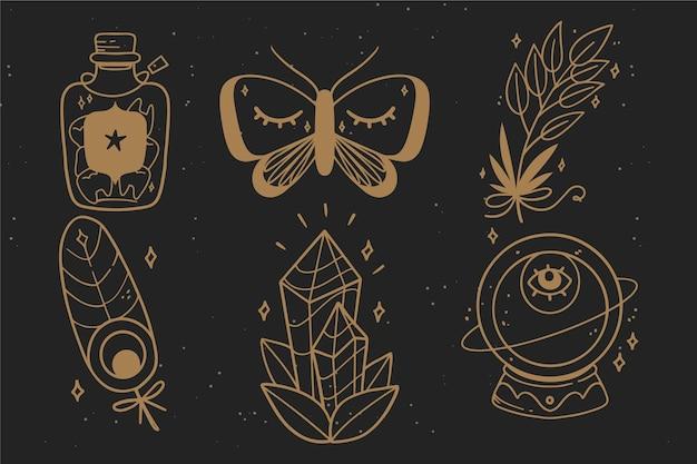 Pacote de elementos esotéricos Vetor grátis