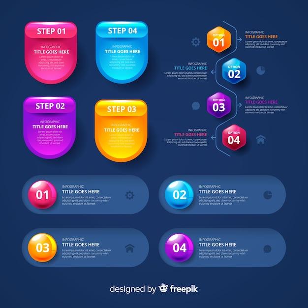 Pacote de elementos infográfico lustrosos realistas Vetor grátis
