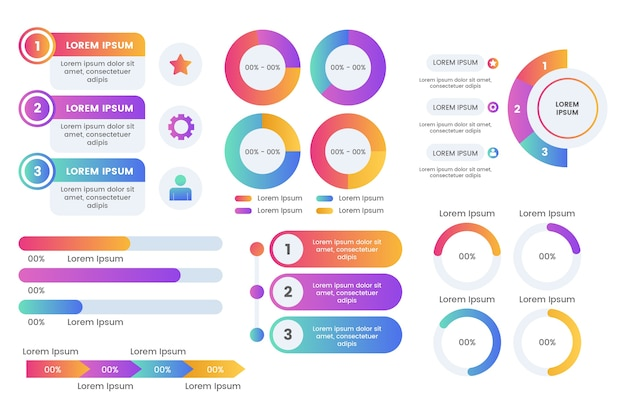 Pacote de elementos infográfico Vetor grátis