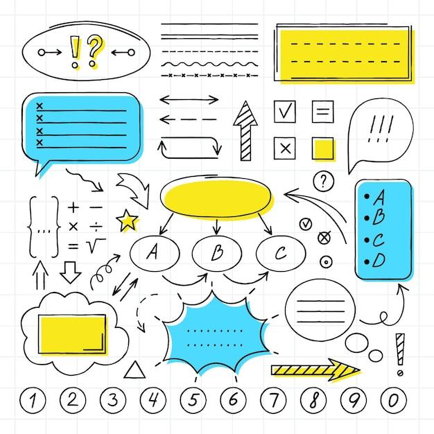 Pacote de elementos infográficos para aulas na escola Vetor grátis