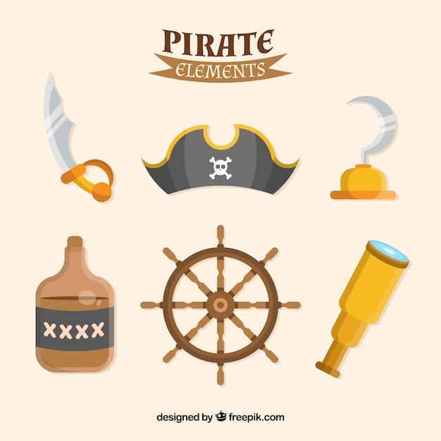 Pacote de elementos piratas em design plano Vetor grátis