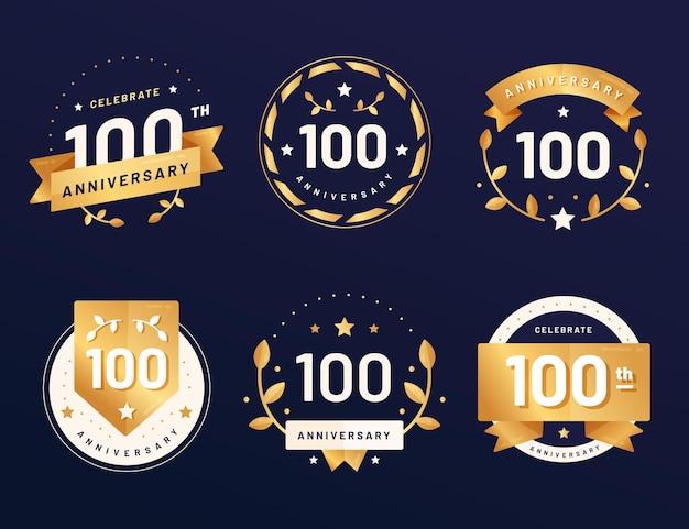 Pacote de emblemas de aniversário de cem anos Vetor grátis