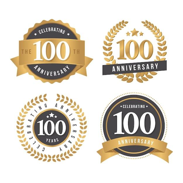 Pacote de emblemas de cem anos de aniversário Vetor Premium