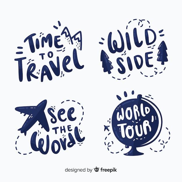 Pacote de emblemas de letras de viagem Vetor grátis