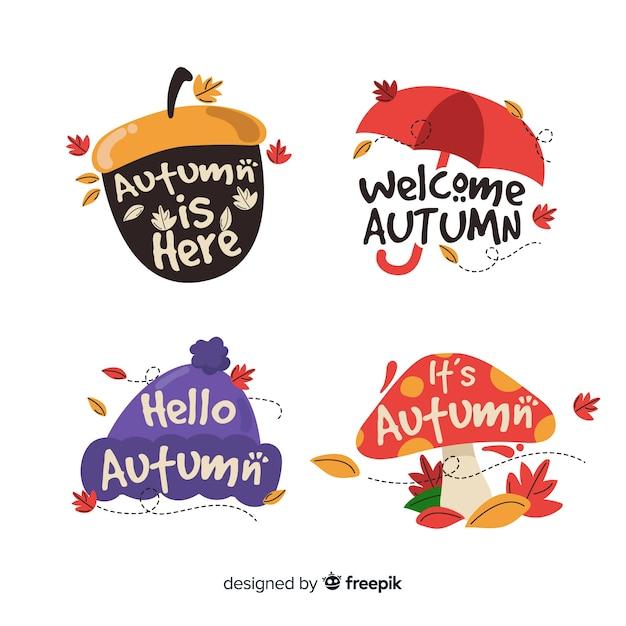Pacote de emblemas de outono planas Vetor grátis
