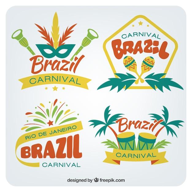 Pacote de emblemas do carnaval brasileiro no estilo colorido Vetor grátis