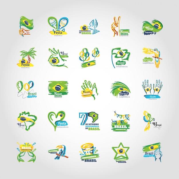 Pacote de emblemas do dia da independência do brasil Vetor Premium
