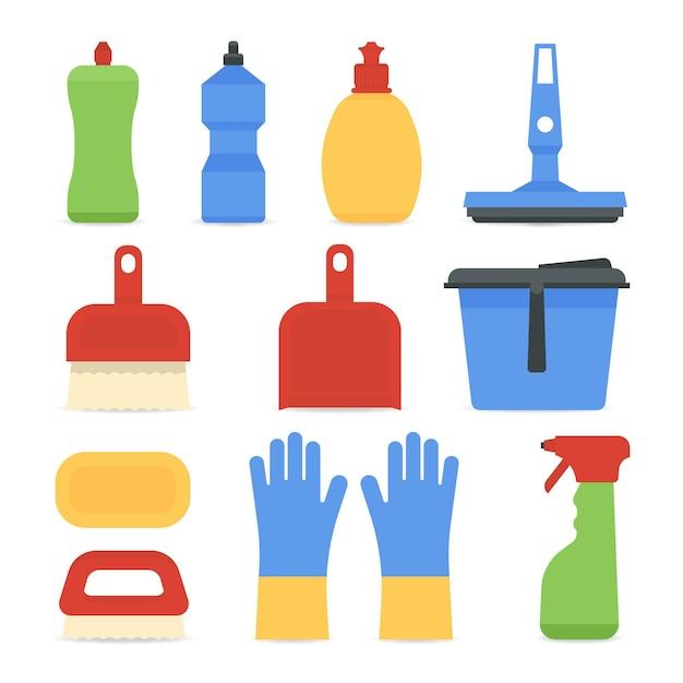 Pacote de equipamentos para limpeza de superfícies Vetor grátis