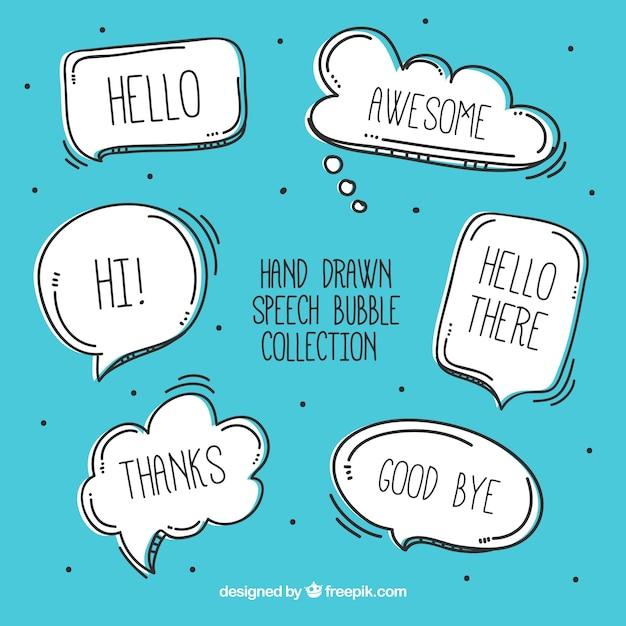 Pacote de esboços de bolhas de discurso com mensagens Vetor grátis