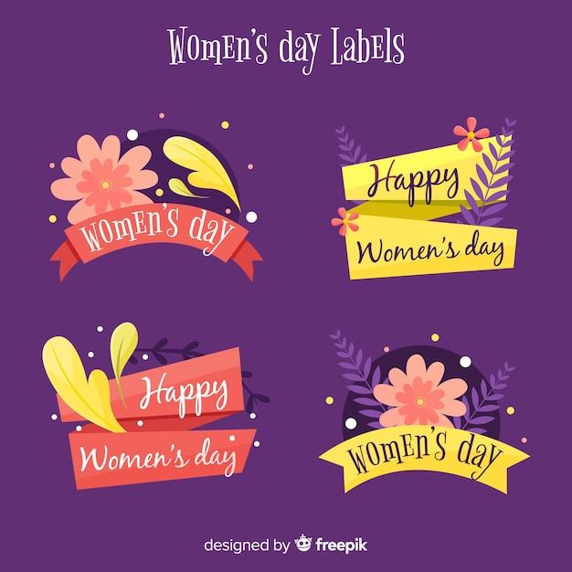 Pacote de etiqueta de dia floral feminino Vetor grátis