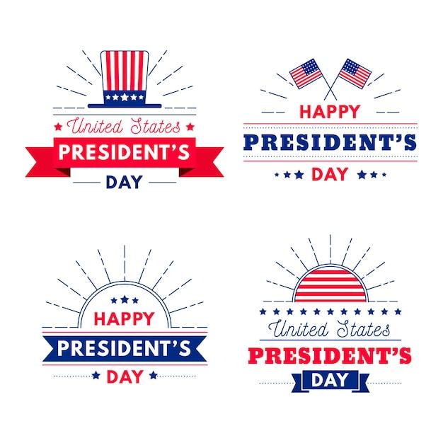 Pacote de etiquetas do dia do presidente Vetor grátis