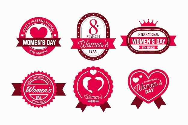 Pacote de etiquetas do dia internacional da mulher com design plano Vetor grátis
