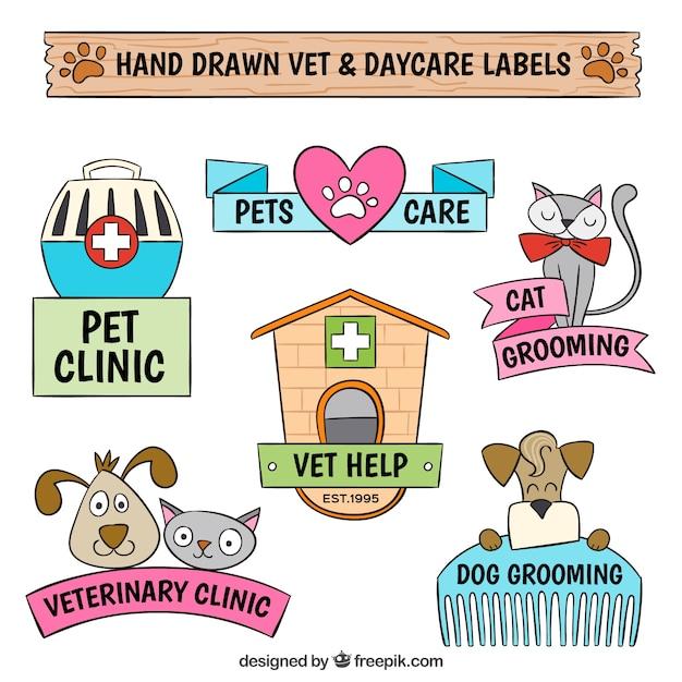 Pacote de etiquetas veterinário desenhados à mão Vetor grátis