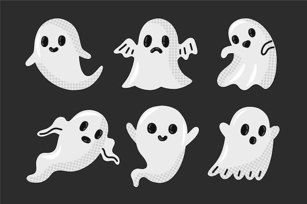 Pacote de fantasmas de halloween desenhado à mão Vetor Premium
