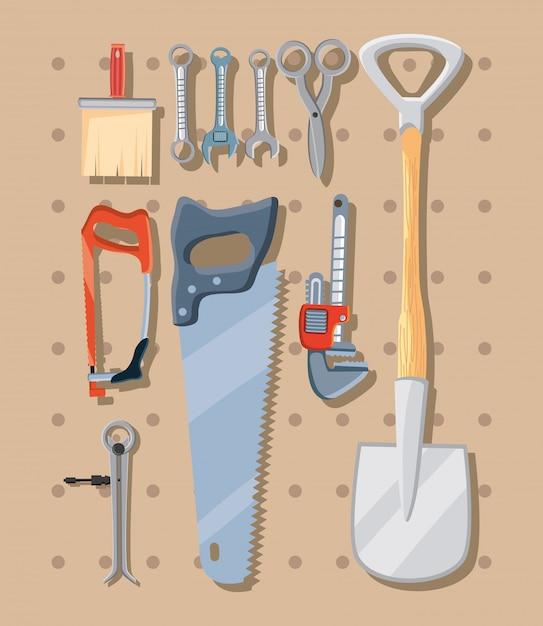 Pacote de ferramentas de construção Vetor Premium