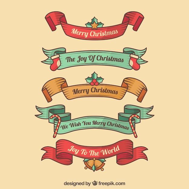 Pacote de fitas retro de natal desenhadas a mão Vetor grátis