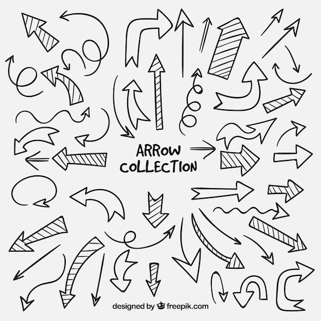 Pacote de flechas desenhadas à mão Vetor grátis