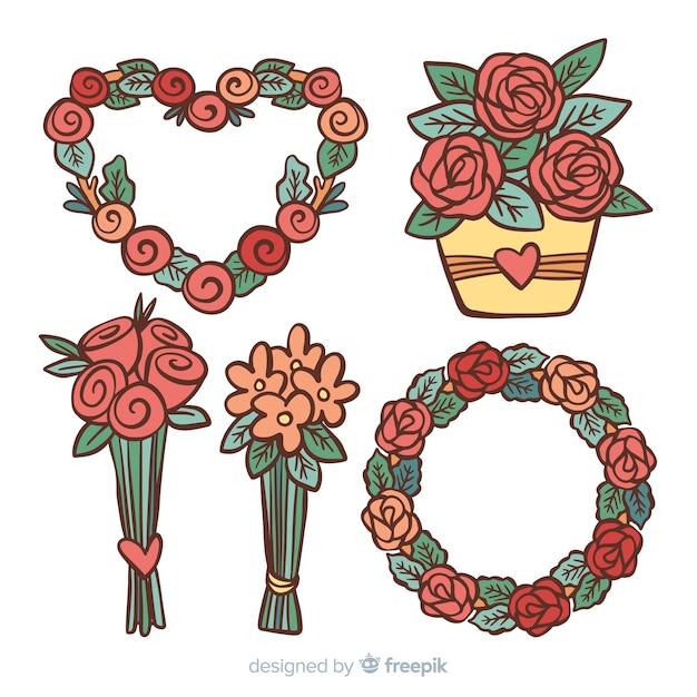 Pacote de flores de dia dos namorados mão desenhada Vetor grátis