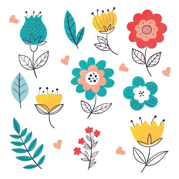 Pacote de flores de primavera desenhado à mão Vetor grátis