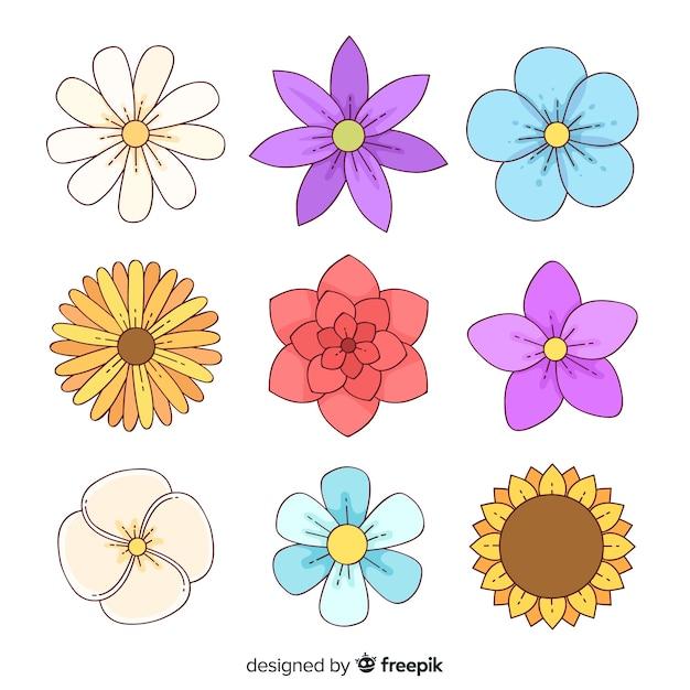 Pacote de flores desenhadas à mão Vetor Premium