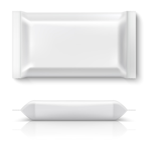 Pacote de fluxo realista. realista comida branca pacote cookie travesseiro folha em branco lanche biscoito plástico pacotes mock up. modelo 3d Vetor Premium