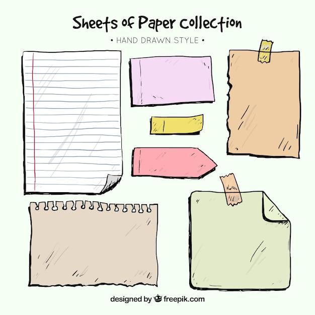 Pacote de folhas de bloco de notas e desenhadas mão notas pegajosas Vetor grátis