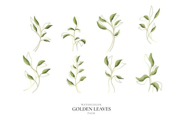 Pacote de folhas douradas em aquarela Vetor grátis