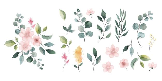 Pacote de folhas e flores em aquarela Vetor grátis