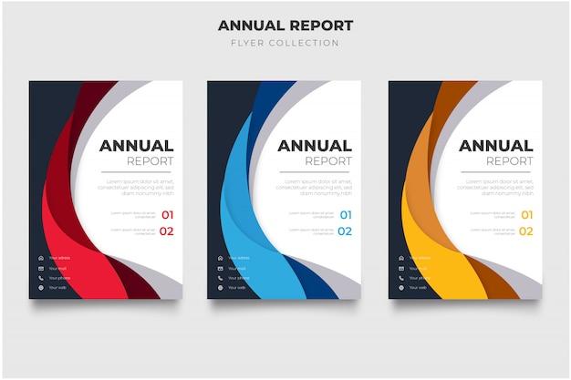 Pacote de folheto moderno relatório anual com ondas abstratas Vetor grátis
