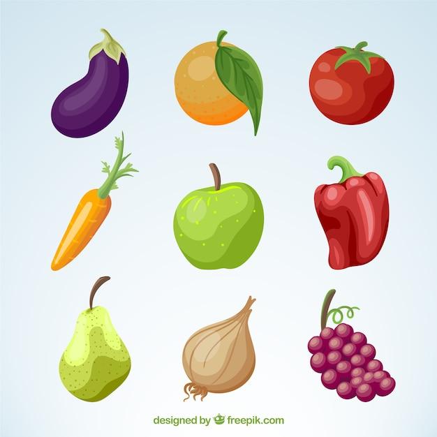 Pacote de frutas e legumes Vetor grátis