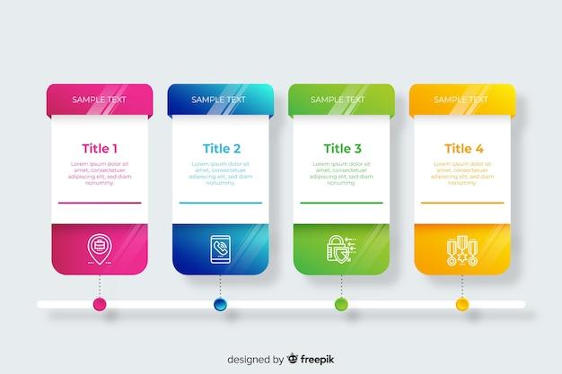 Pacote de gradiente infográfico passos Vetor grátis