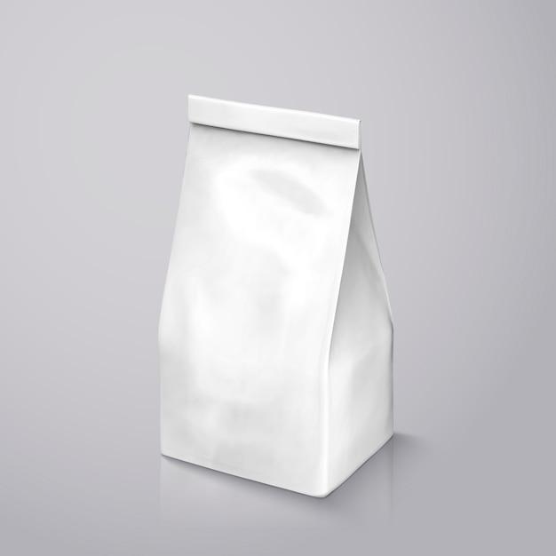 Pacote de grãos de café, pacote de folha branca pérola na ilustração para uso Vetor Premium