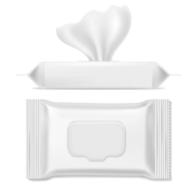 Pacote de guardanapos. pacotes antibacterianos, lenços umedecidos higiene papel guardanapo maquiagem maquete limpa maquete modelo de embalagem, realista Vetor Premium