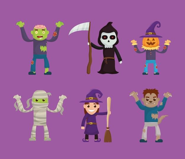 Pacote de halloween conjunto de ícones de caracteres Vetor Premium