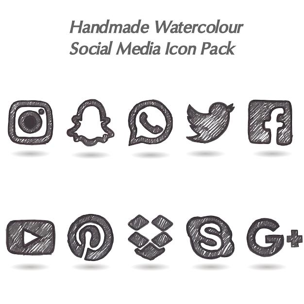 Pacote de ícone de mídia social de aquarela feita à mão Vetor grátis