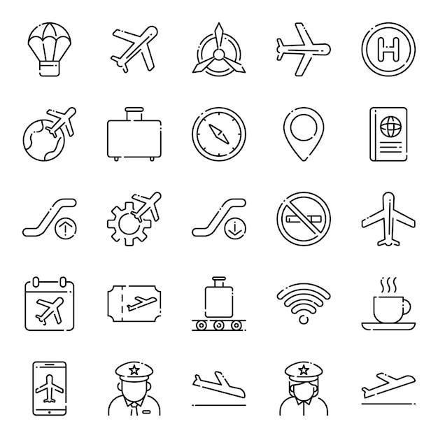 Pacote de ícones da aviação, com estilo de ícone de estrutura de tópicos Vetor Premium