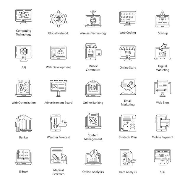 Pacote de ícones da linha de interface do usuário Vetor Premium