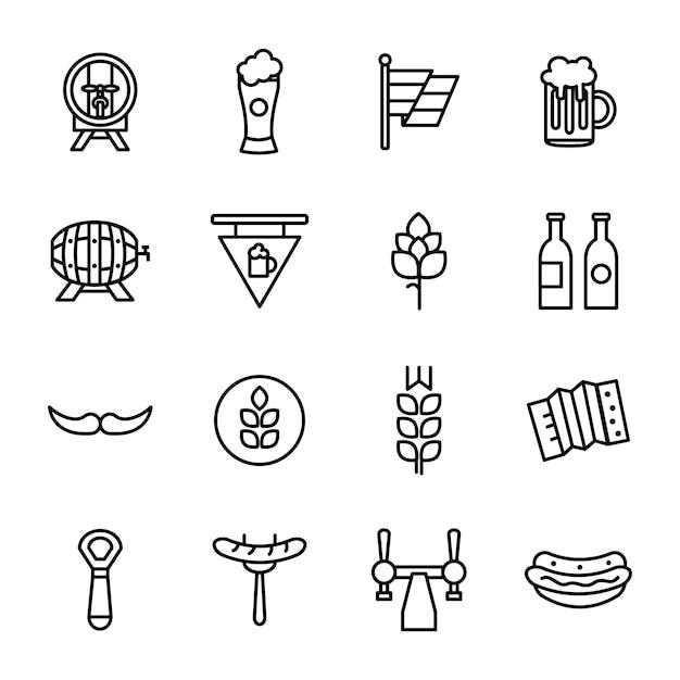 Pacote de ícones da oktoberfest, estilo de ícone de estrutura de tópicos Vetor Premium