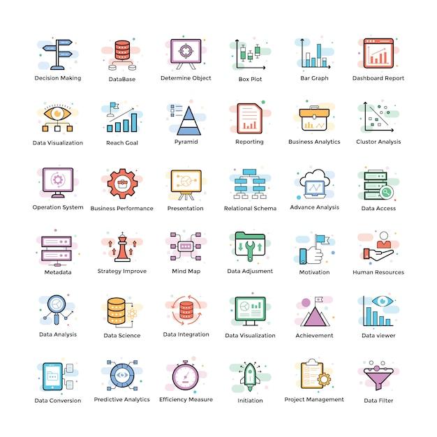Pacote de ícones de análise de dados Vetor Premium