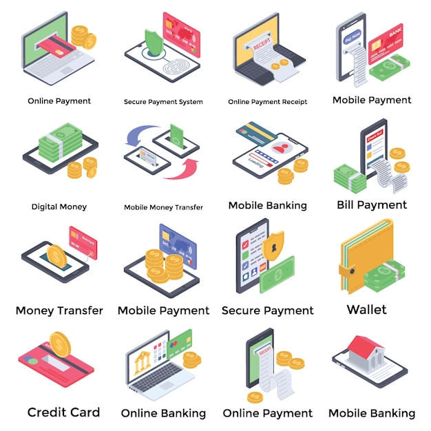 Pacote de ícones de banco on-line Vetor Premium