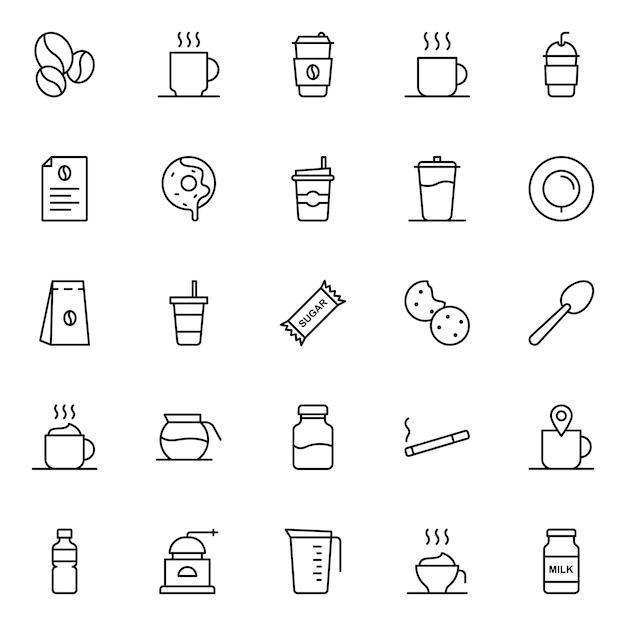 Pacote de ícones de café, com estilo de ícone de contorno Vetor Premium
